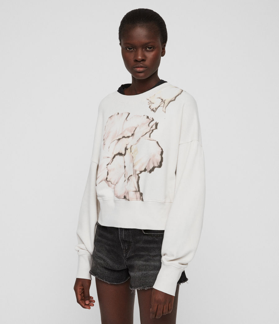 Womens Linel Storn Cropped Sweatshirt (ivory_white) - Image 2
