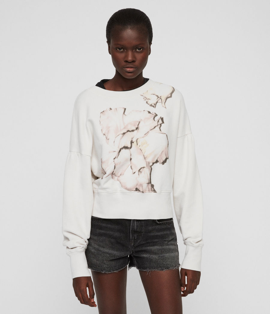 Womens Linel Storn Cropped Sweatshirt (ivory_white) - Image 5