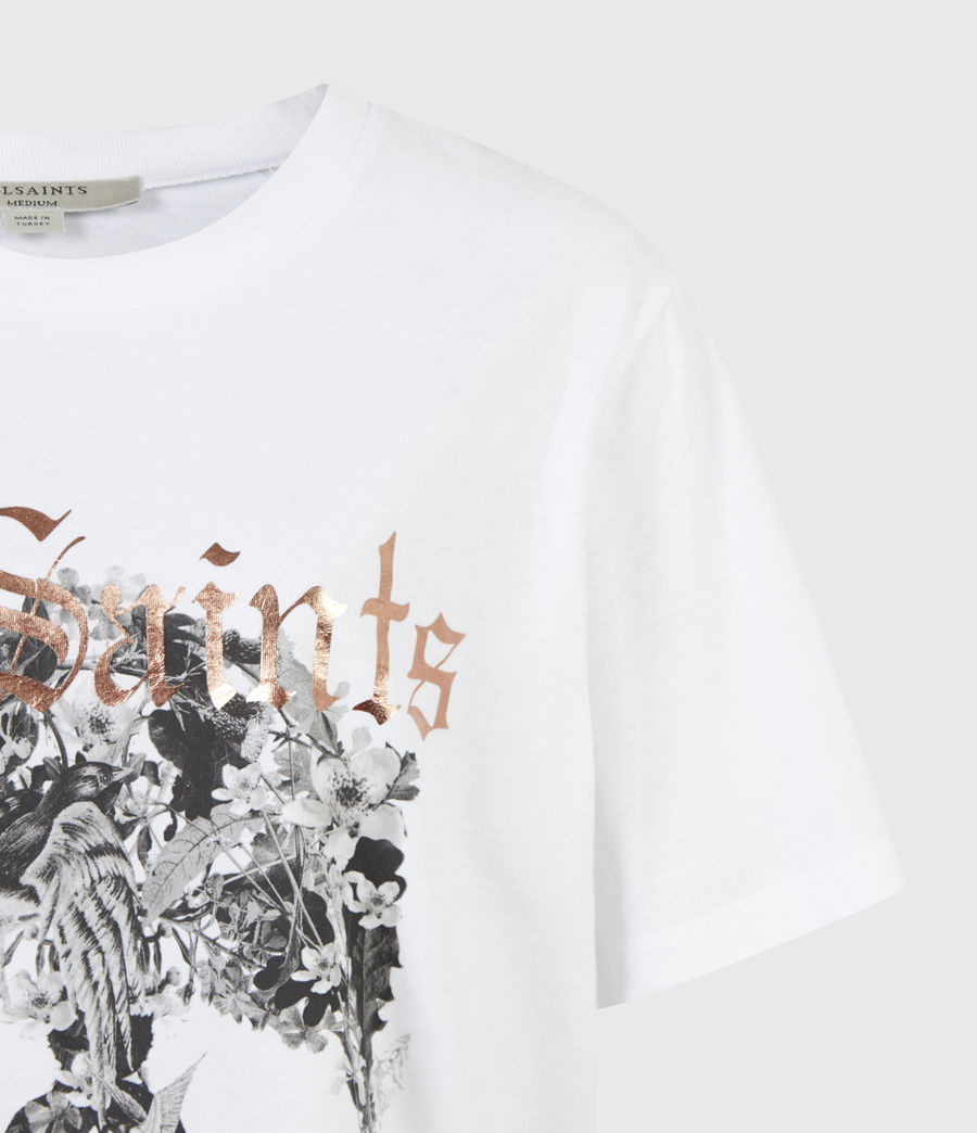 Women's Skull Boyfriend T-Shirt (optic_white) - Image 4