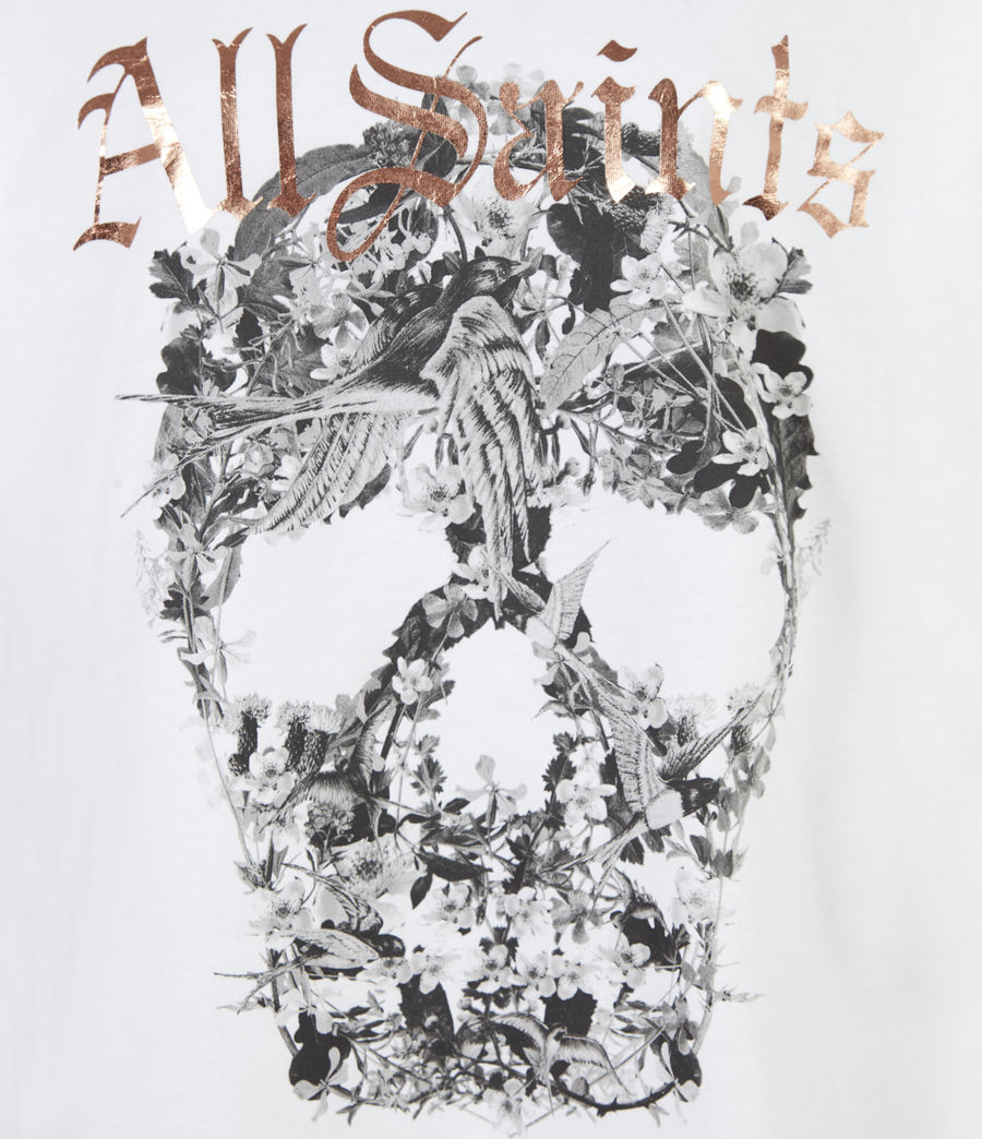 Women's Skull Boyfriend T-Shirt (optic_white) - Image 5