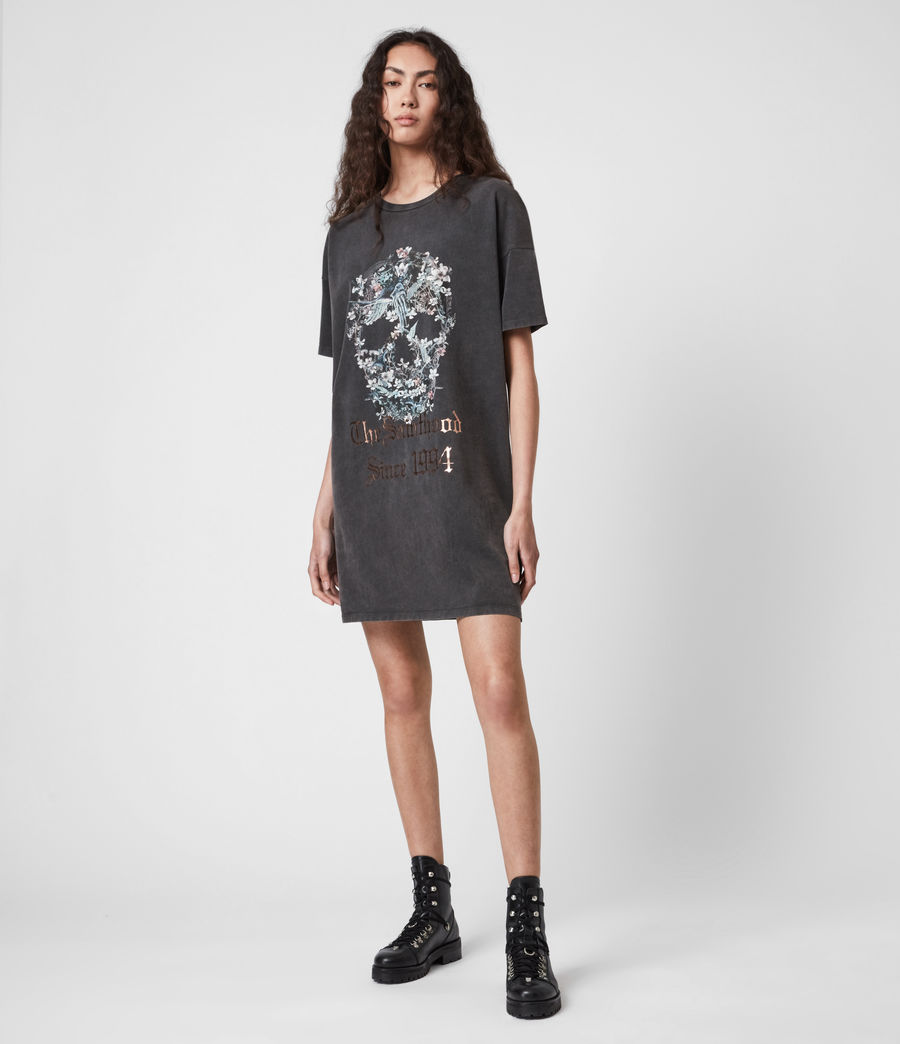 Women's Skull T-Shirt Dress (washed_black) - Image 1