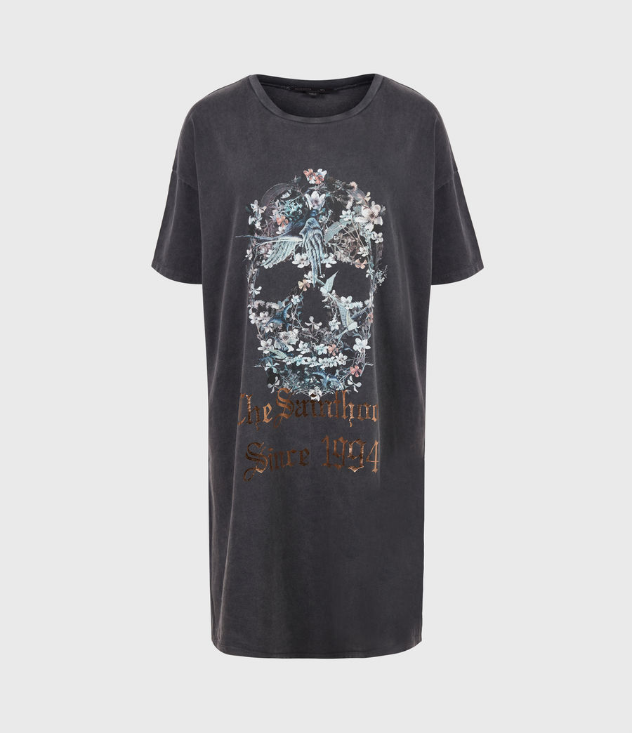 Women's Skull T-Shirt Dress (washed_black) - Image 2