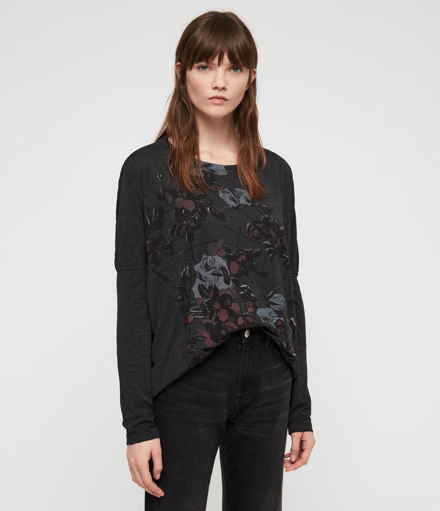 Women's Rhosyn Wave T-Shirt (dark_night_blue) - Image 4