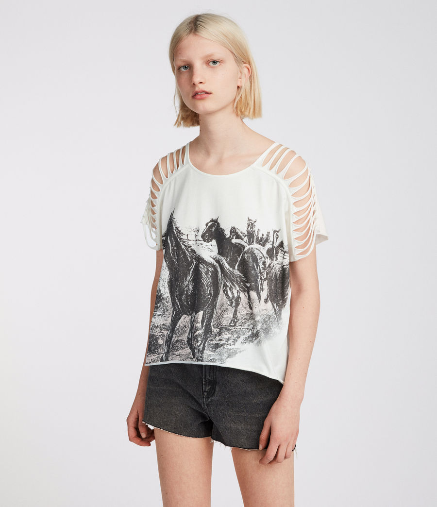 Women's Riders Slash Shoulder Tee (chalk_white) - Image 1