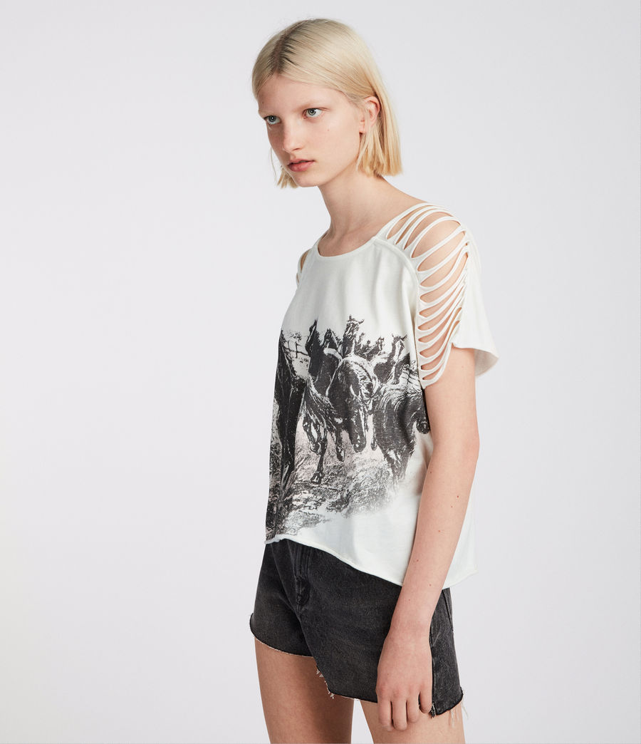 Womens Riders Slash Shoulder T-Shirt (chalk_white) - Image 4
