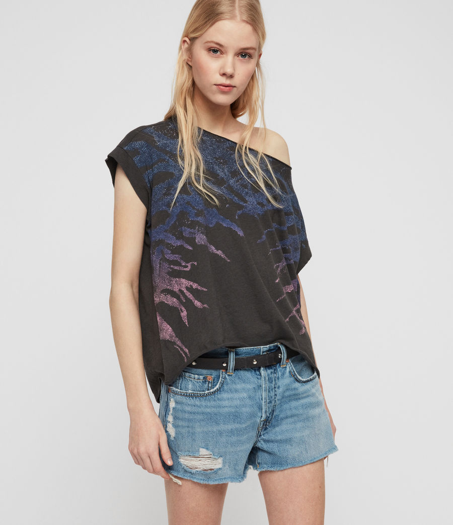 Womens Ombre Stripes Pina T-Shirt (washed_black) - Image 1