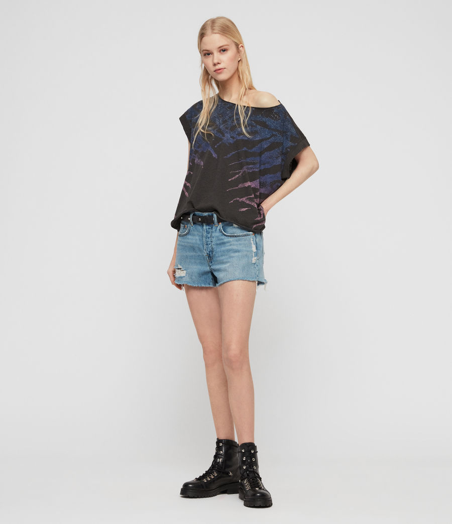 Womens Ombre Stripes Pina T-Shirt (washed_black) - Image 2