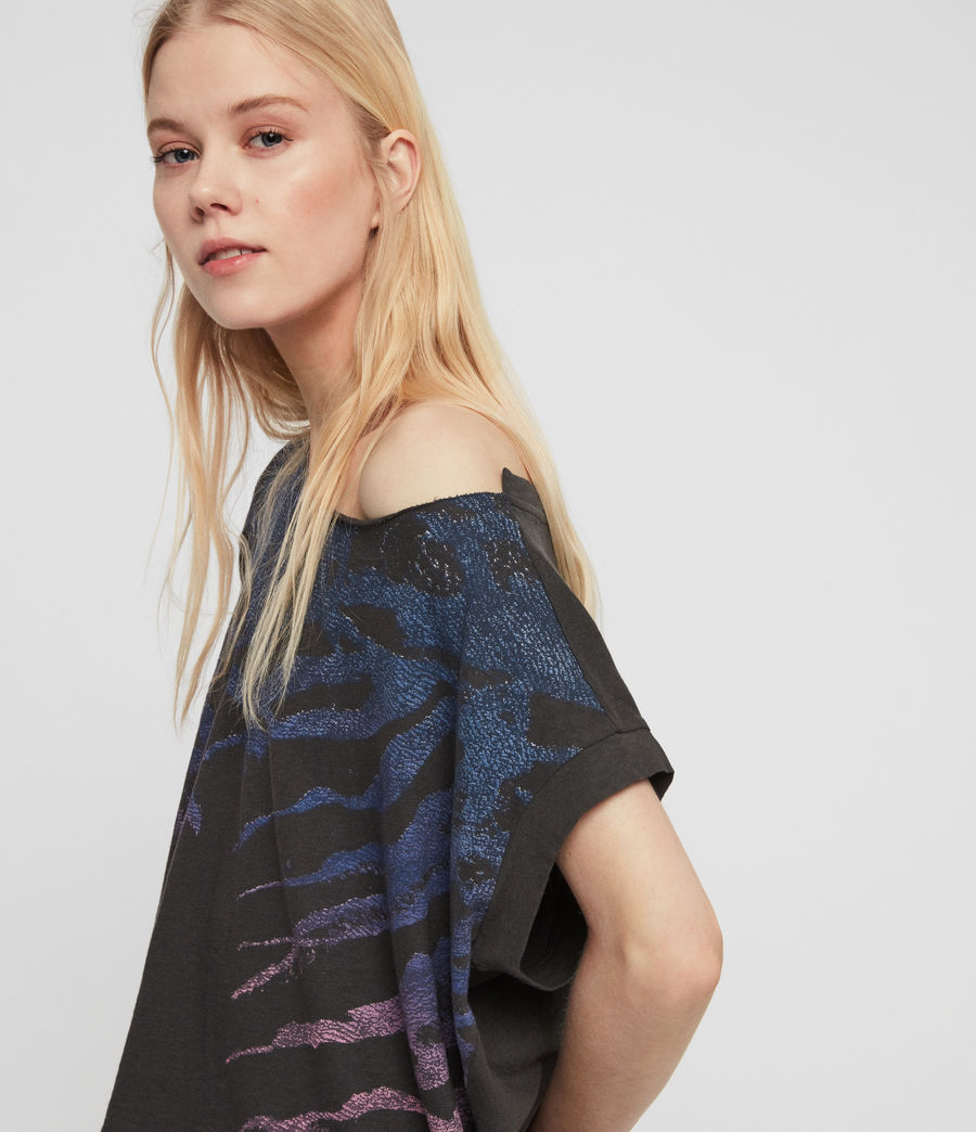 Womens Ombre Stripes Pina T-Shirt (washed_black) - Image 3