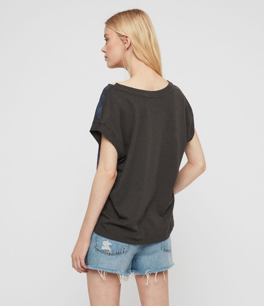 Womens Ombre Stripes Pina T-Shirt (washed_black) - Image 5