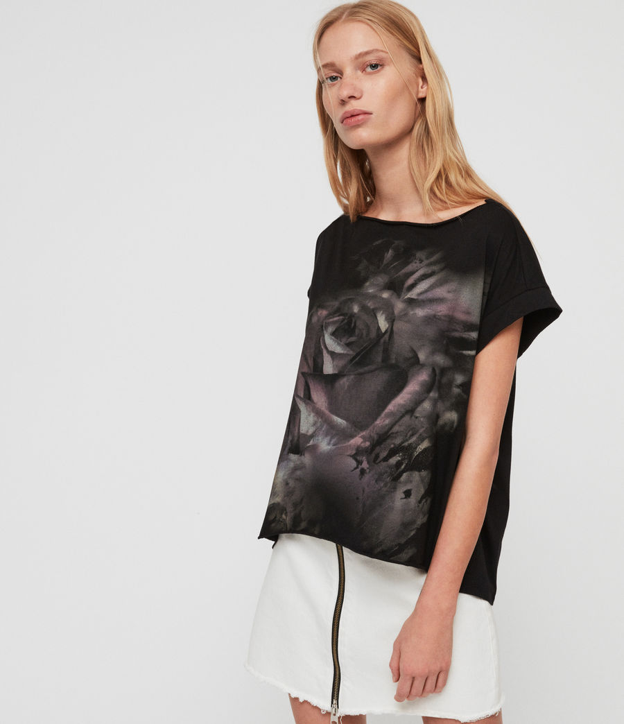 Womens Rose Brush Pina T-Shirt (black) - Image 3