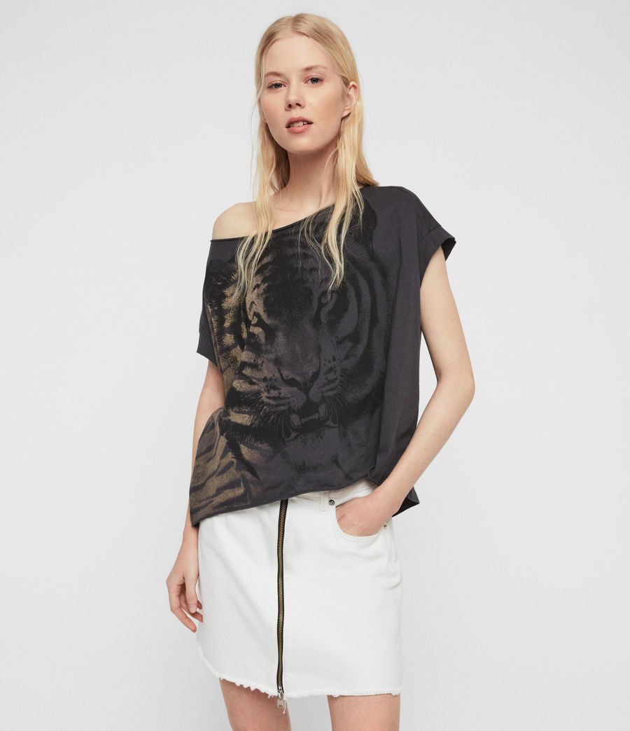 Damen Tiger Pina T-Shirt (washed_black) - Image 1