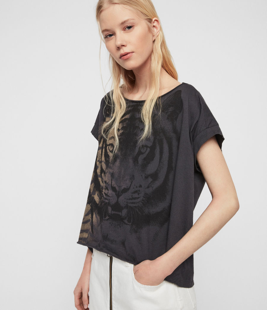Damen Tiger Pina T-Shirt (washed_black) - Image 3