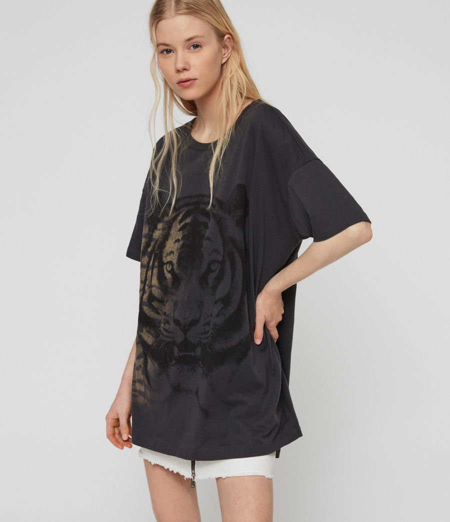 Womens Tiger Cori T-Shirt (washed_black) - Image 1