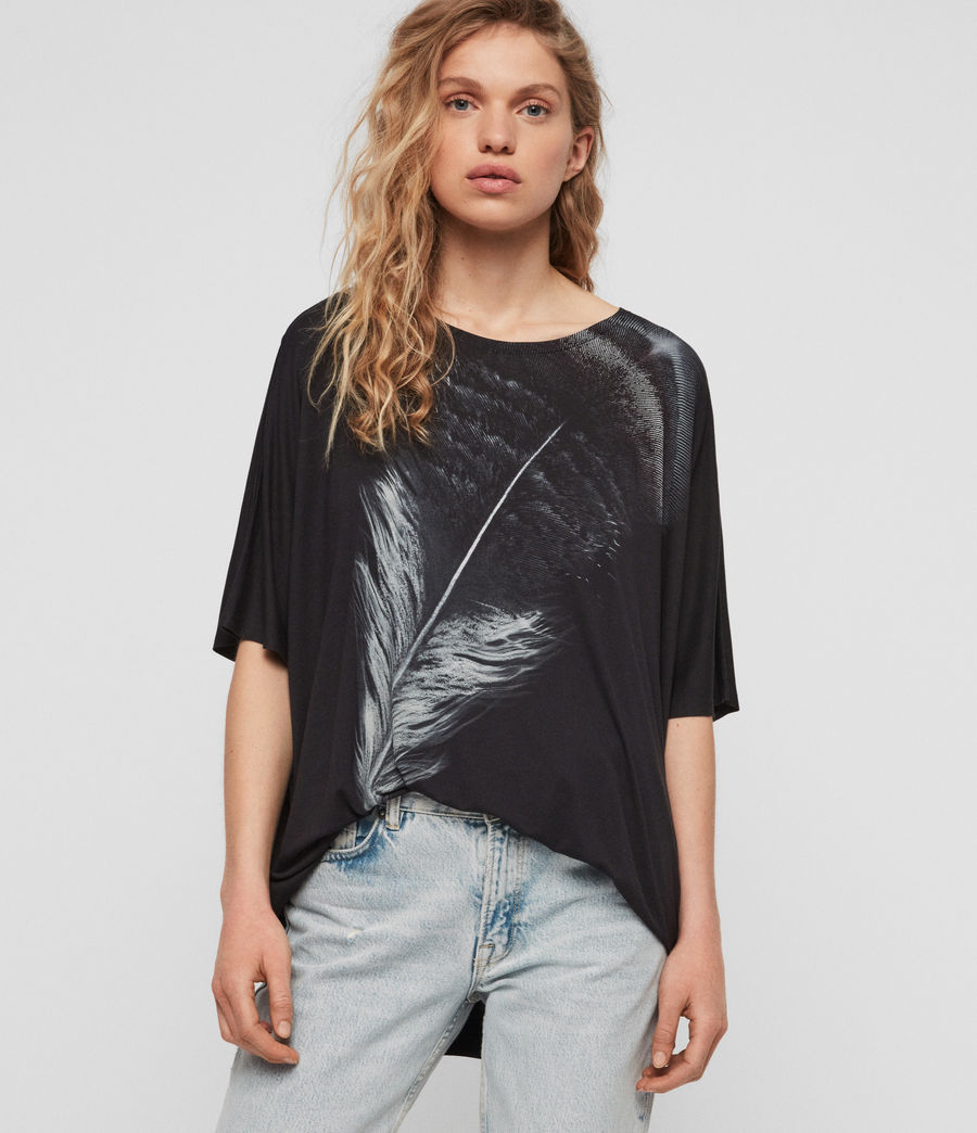 Women's Os Feather Dreams T-Shirt (cinder_black) - Image 1