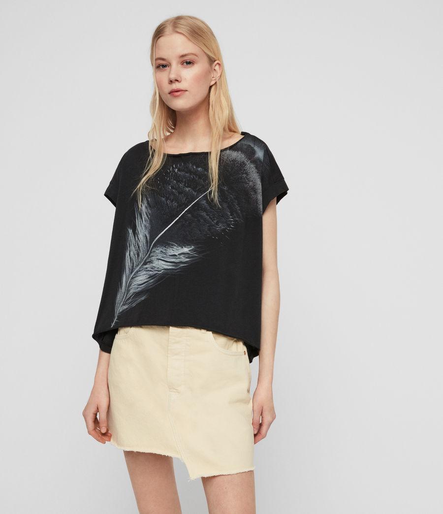 Women's Os Feather Pina T-Shirt (fadeout_black) - Image 1