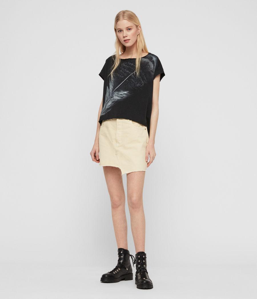 Women's Os Feather Pina T-Shirt (fadeout_black) - Image 2