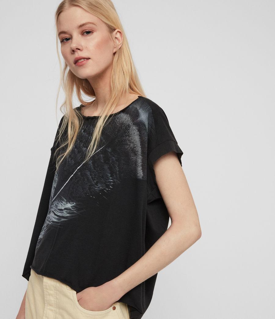 Women's Os Feather Pina T-Shirt (fadeout_black) - Image 4