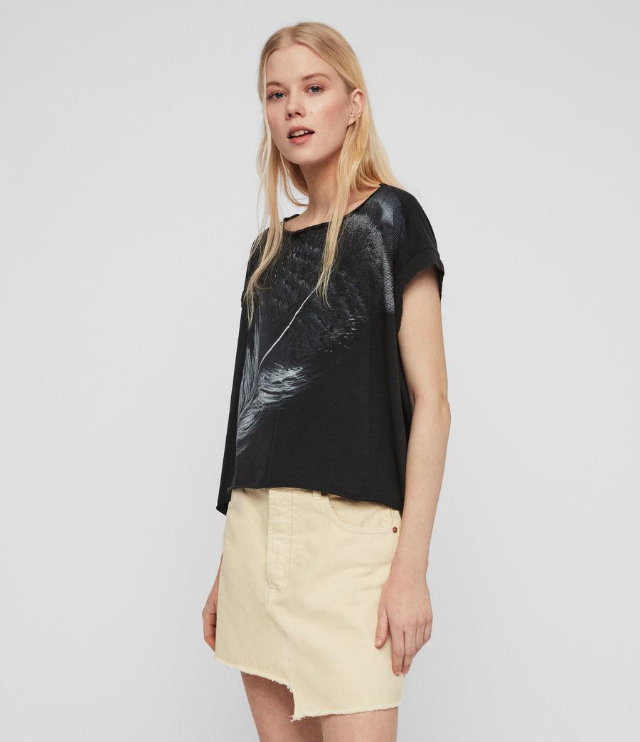 Women's Os Feather Pina T-Shirt (fadeout_black) - Image 5