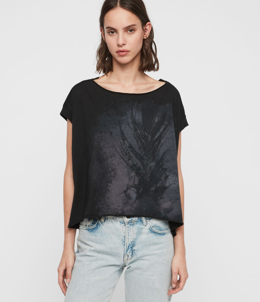 Womens Feather Pina T-Shirt (black) - Image 1