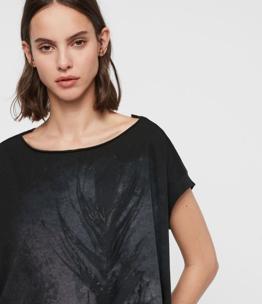 Womens Feather Pina T-Shirt (black) - Image 2