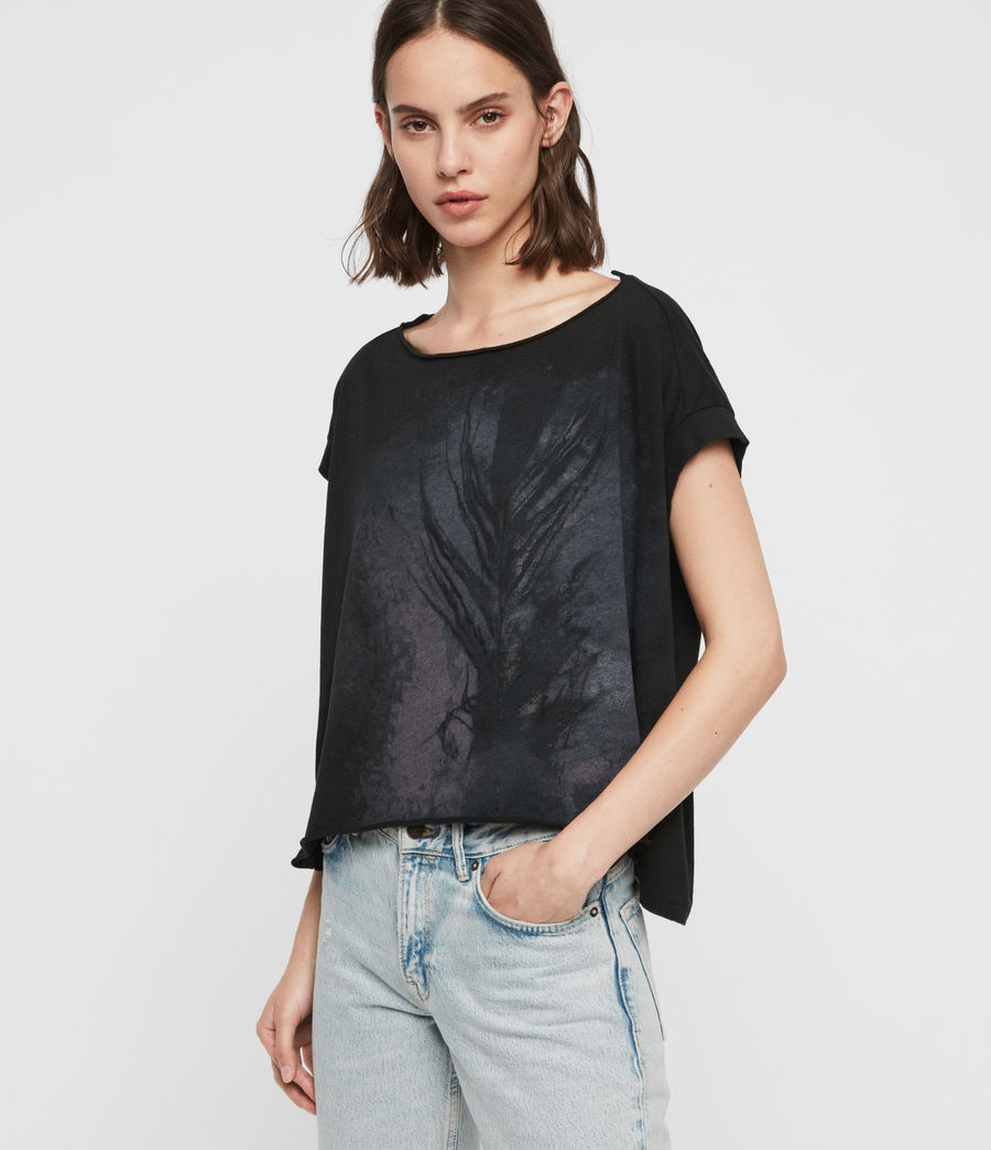 Womens Feather Pina T-Shirt (black) - Image 4