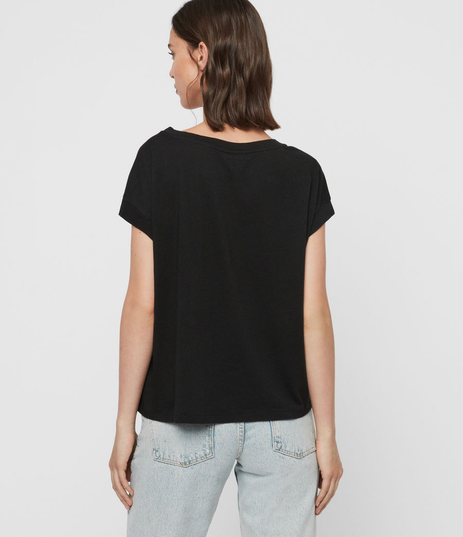 Womens Feather Pina T-Shirt (black) - Image 5