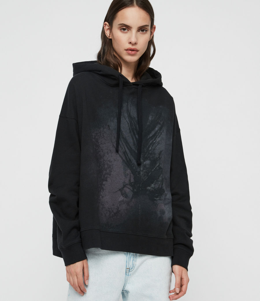 Womens Feather Lo Hoodie (black) - Image 3