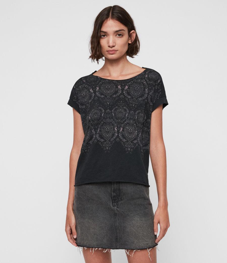 Women's Paisley Pina T-Shirt (fadeout_black) - Image 1