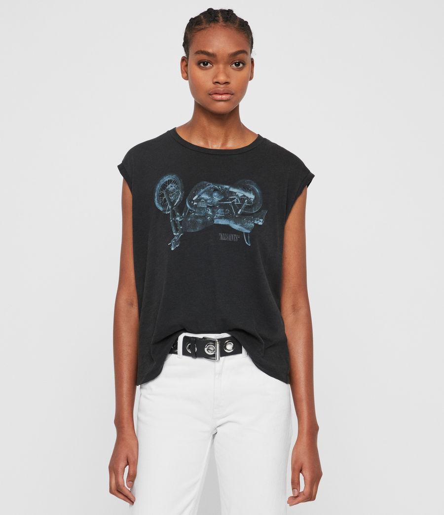 Womens Motorbike Brookita T-Shirt (fadeout_black) - Image 1