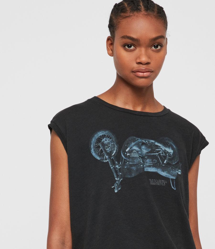 Womens Motorbike Brookita T-Shirt (fadeout_black) - Image 2