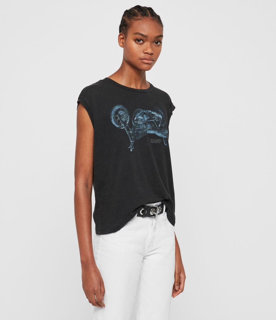 Womens Motorbike Brookita T-Shirt (fadeout_black) - Image 4