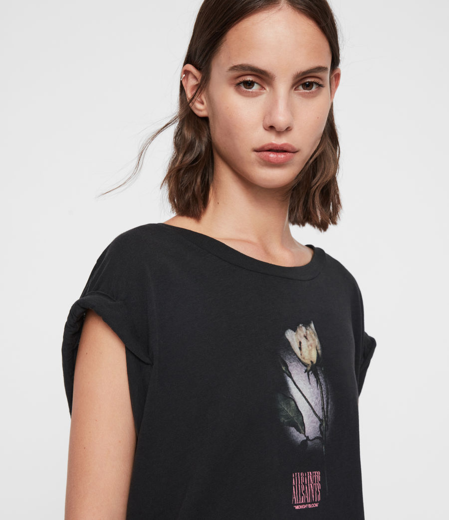 Donne T-shirt Midnight Sanza - Oversize con grafica polaroid (black) - Image 2