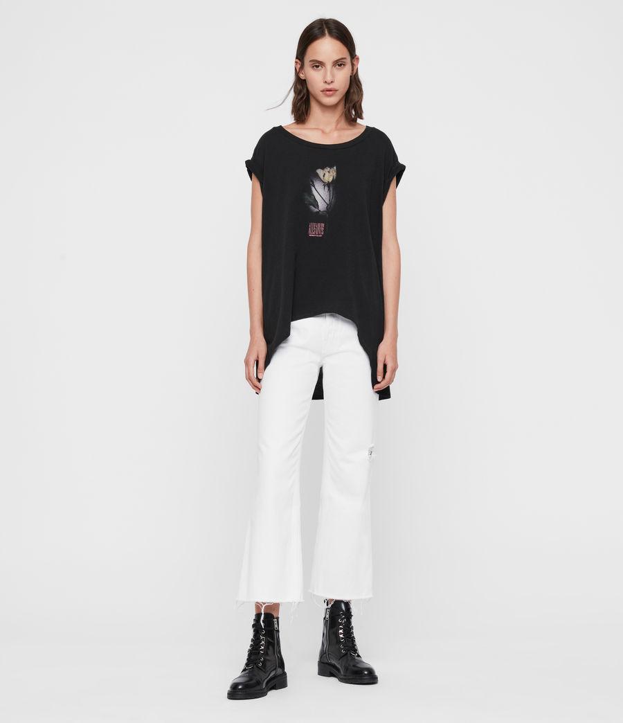 Donne T-shirt Midnight Sanza - Oversize con grafica polaroid (black) - Image 3