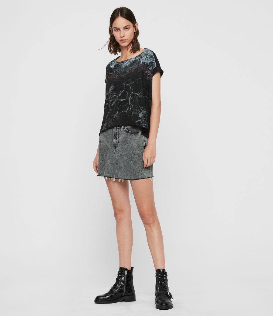Womens Marble Pina T-Shirt (black) - Image 3
