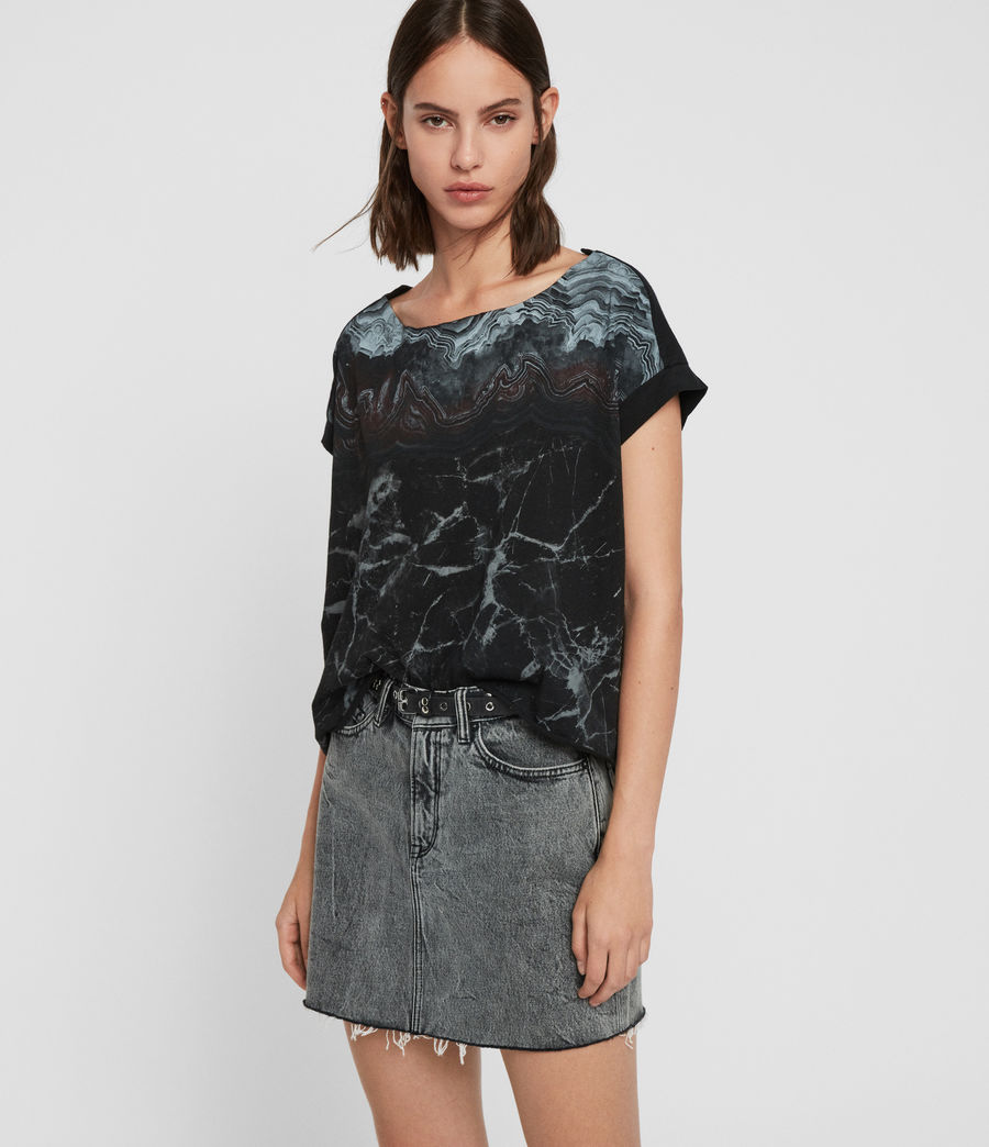 Womens Marble Pina T-Shirt (black) - Image 4