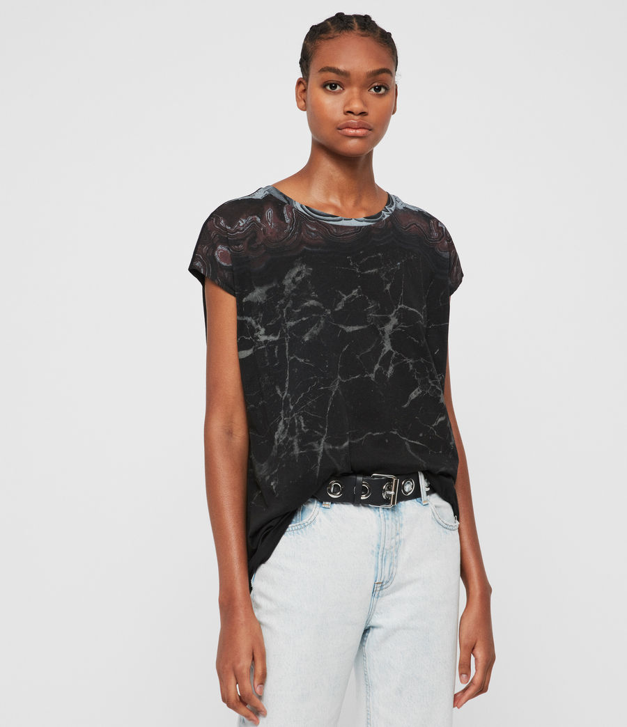 Donne T-shirt Marble Ori (black) - Image 1