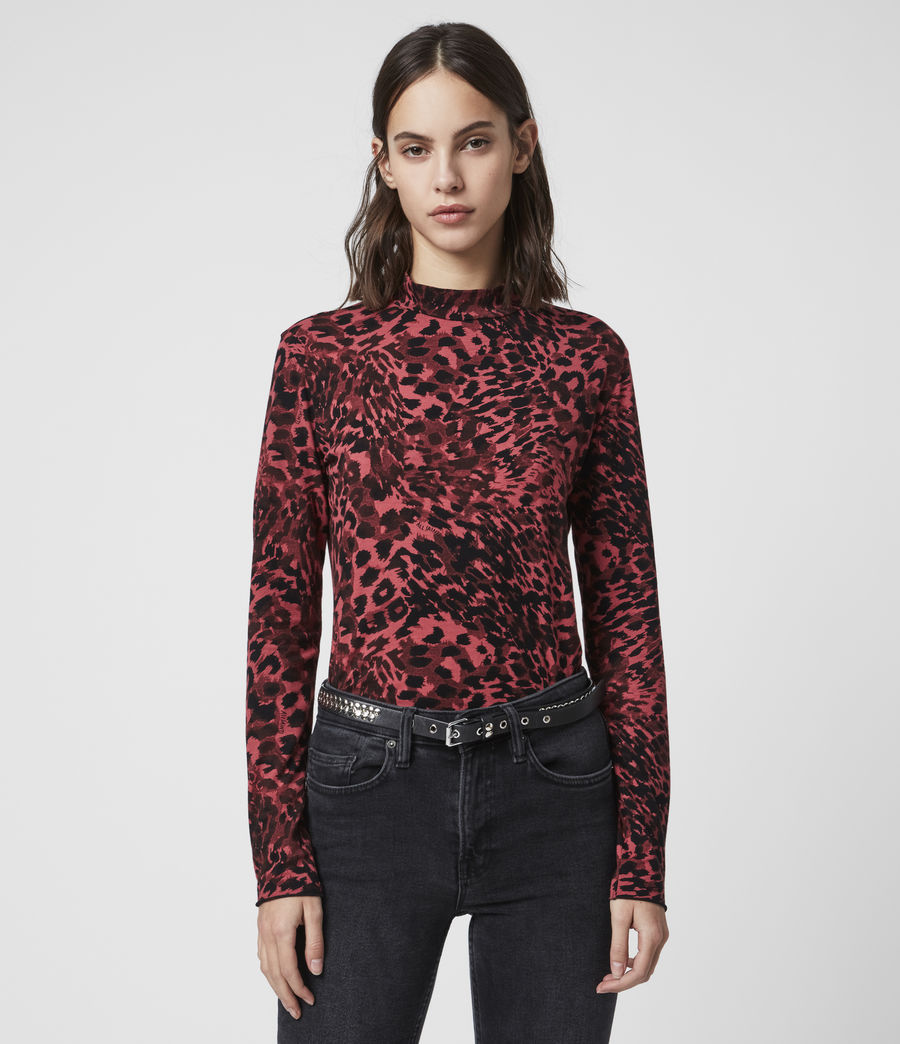 Damen Redar Kiara Ls T-Shirt (red) - Image 4