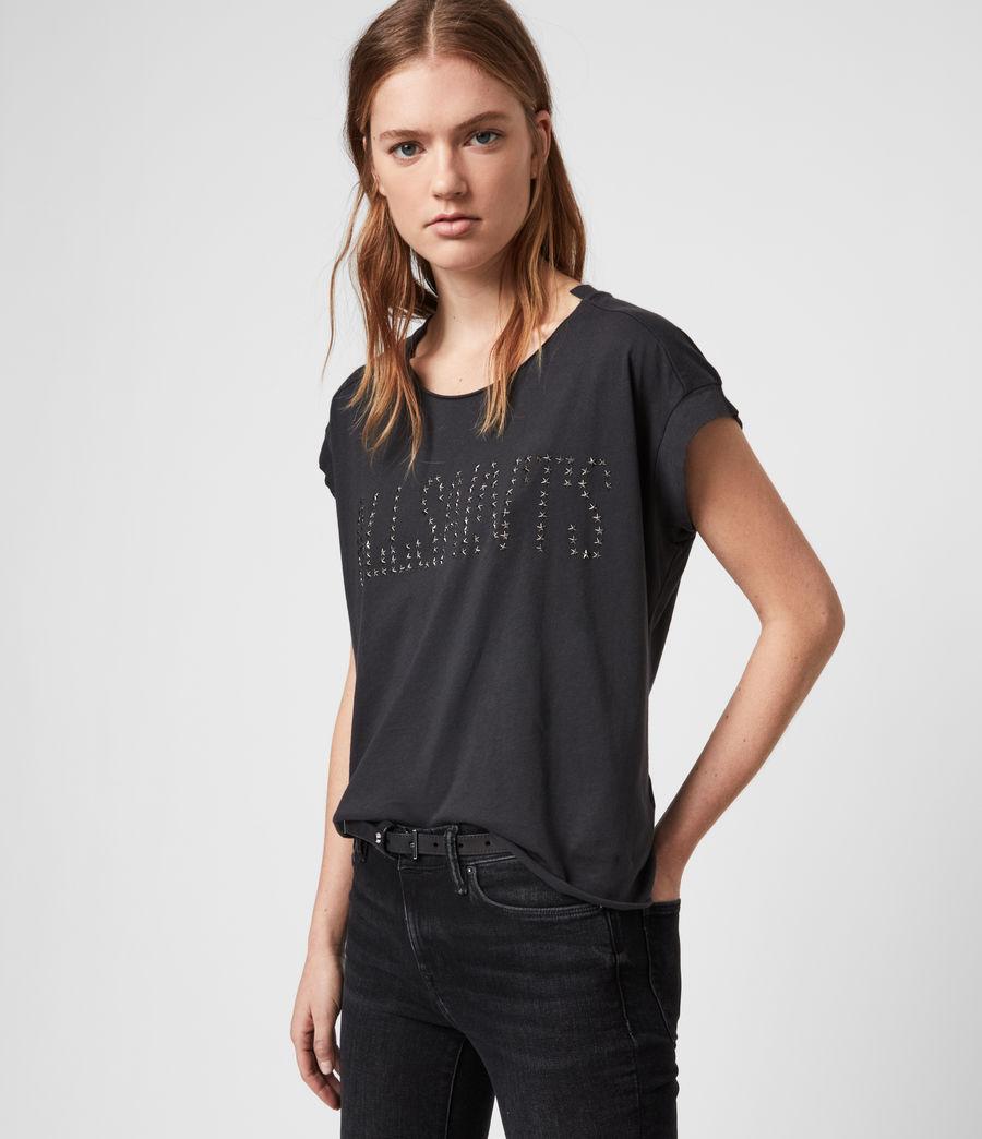 Donne T-shirt Star Pina - In cotone con appliqué a stella (black) - Image 1