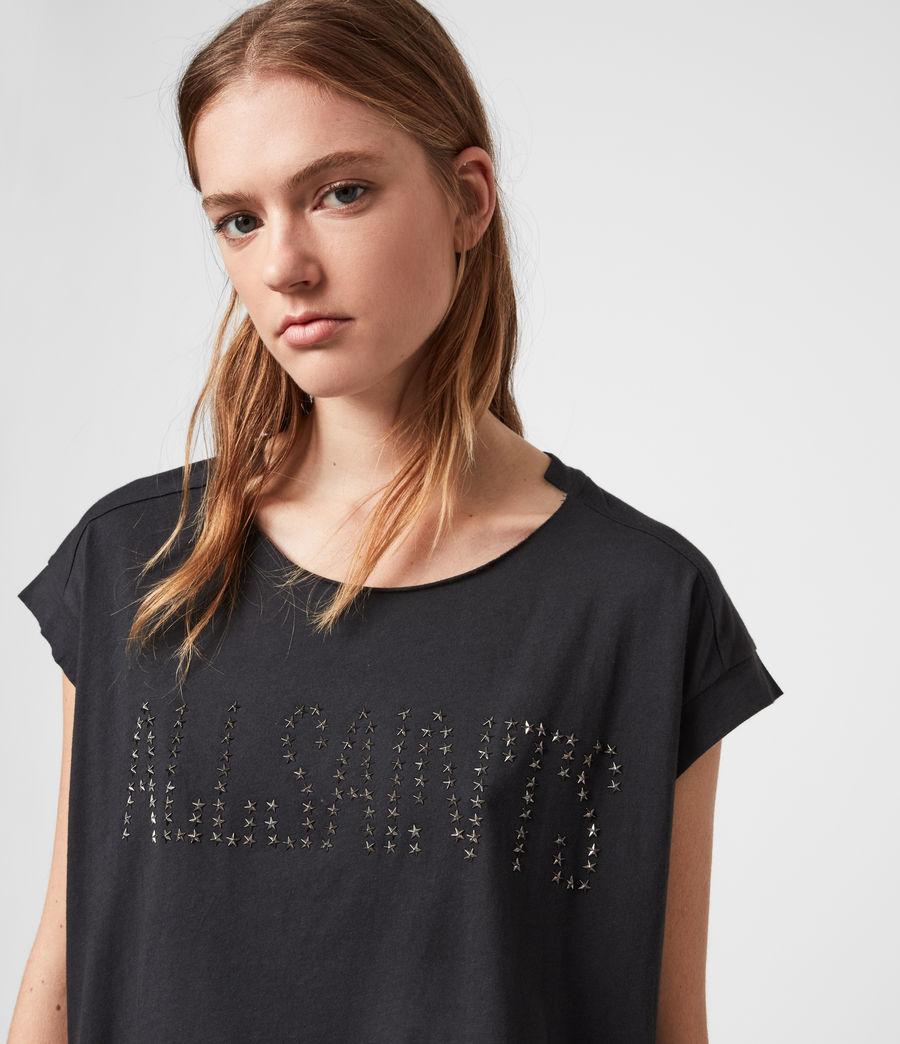 Donne T-shirt Star Pina - In cotone con appliqué a stella (black) - Image 2