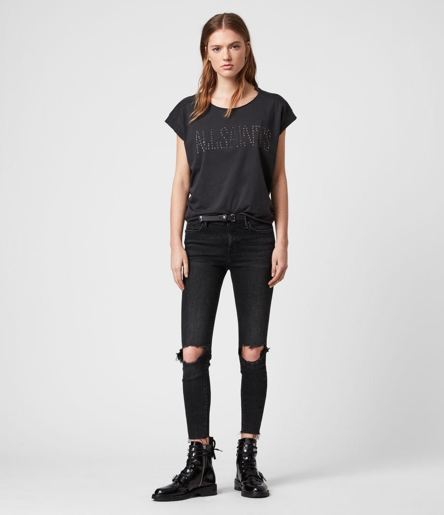 Donne T-shirt Star Pina - In cotone con appliqué a stella (black) - Image 3