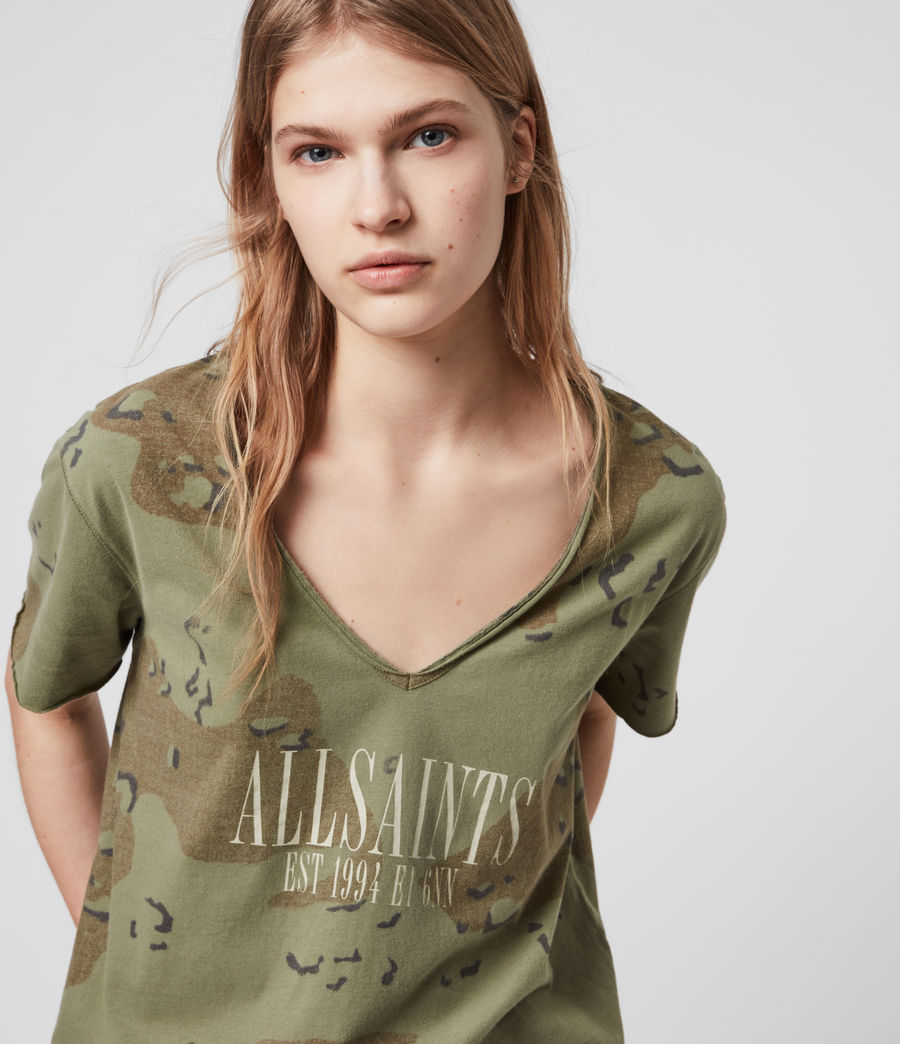 Womens Acoustic Emelyn T-Shirt (khaki_green) - Image 1