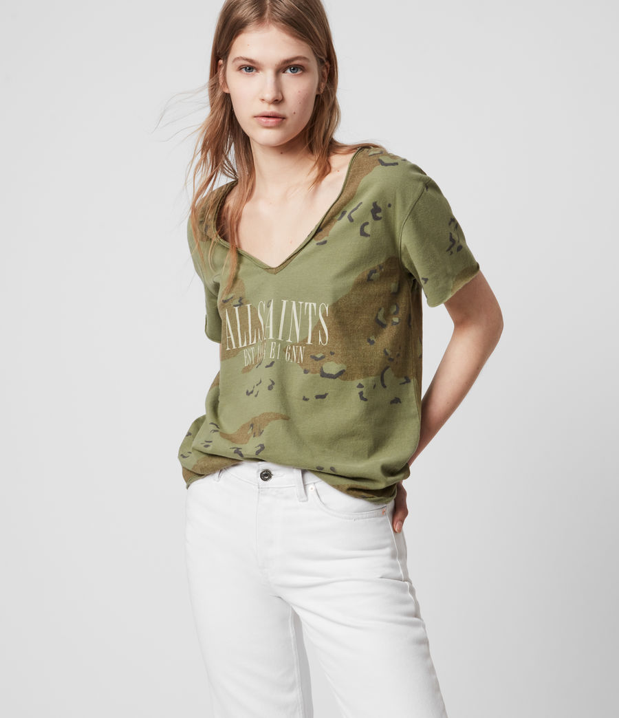Womens Acoustic Emelyn T-Shirt (khaki_green) - Image 2