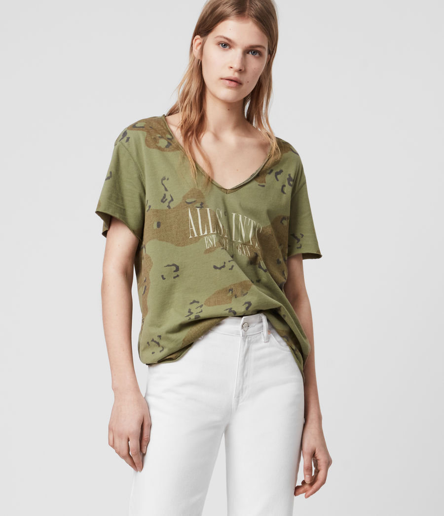 Womens Acoustic Emelyn T-Shirt (khaki_green) - Image 4