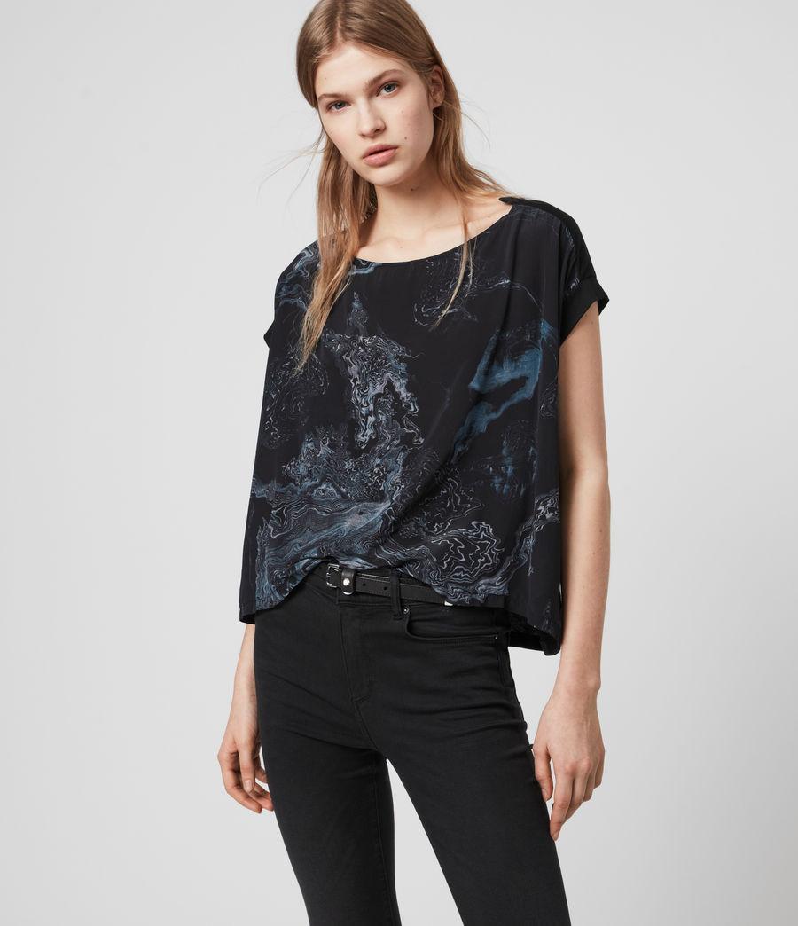 Damen Hatsukoi Pina T-Shirt (oil_black) - Image 1