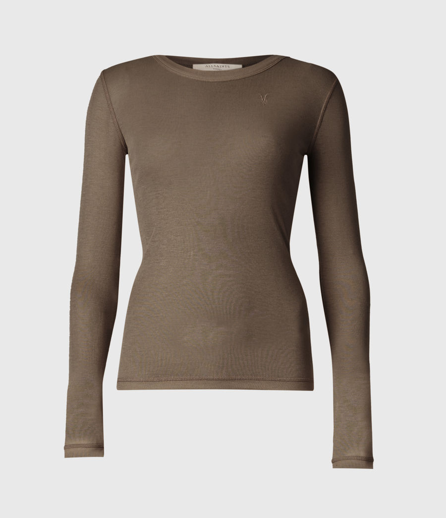 Womens Francesco Ramskull Long Sleeve T-Shirt (khaki_green) - Image 2