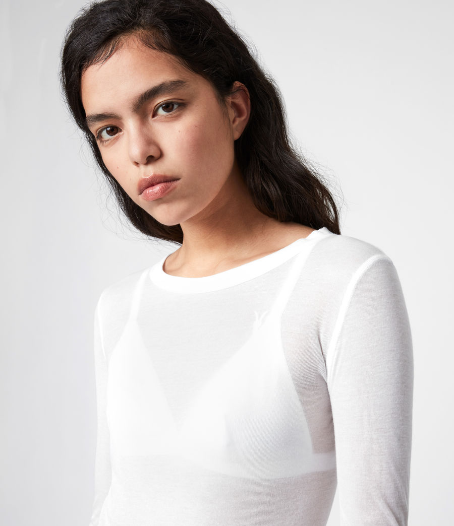 Damen Francesco Ramskull-Logo Long Sleeve Top (chalk_white) - Image 2