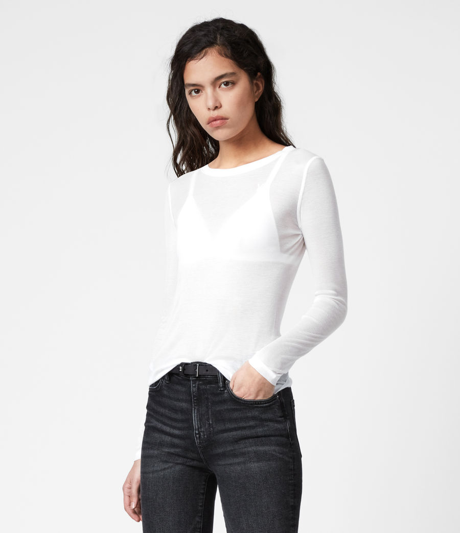 Damen Francesco Ramskull-Logo Long Sleeve Top (chalk_white) - Image 4