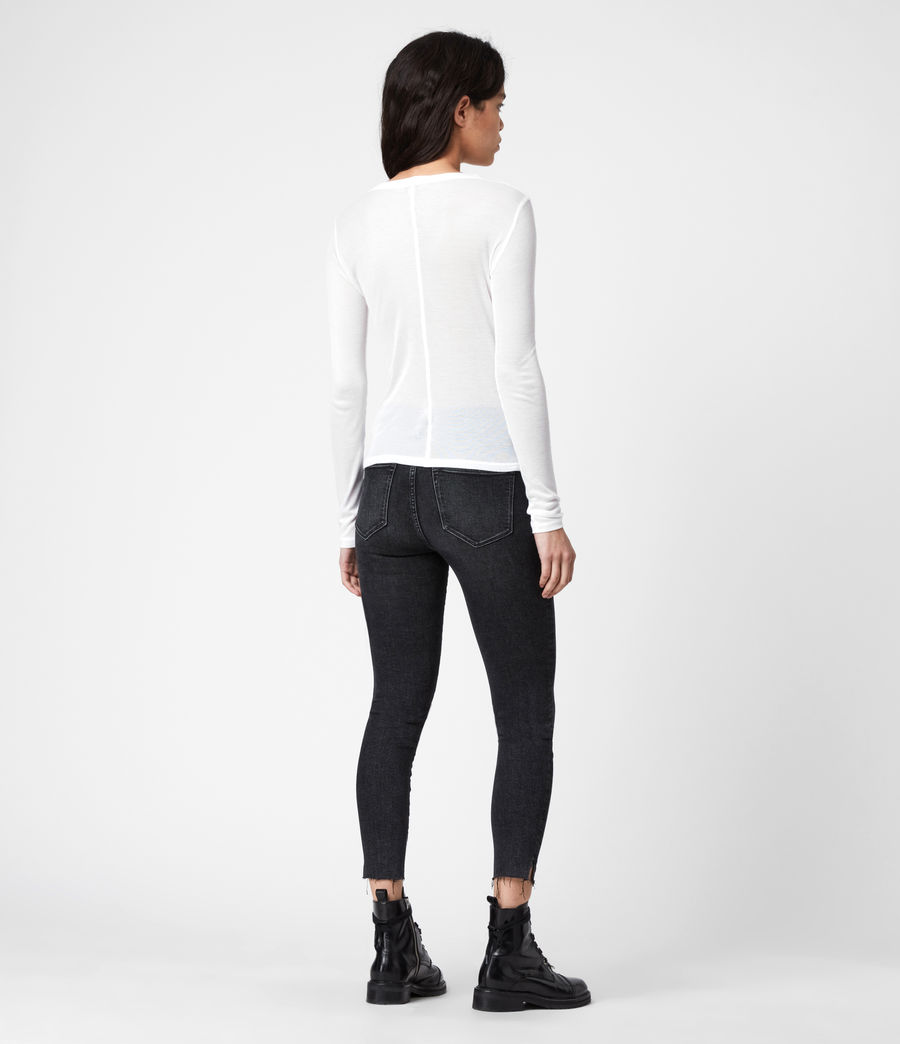 Damen Francesco Ramskull-Logo Long Sleeve Top (chalk_white) - Image 5
