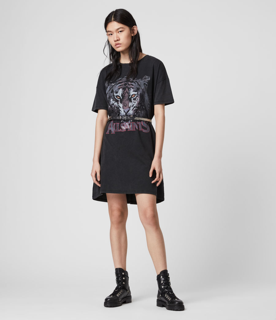Mujer Tiger T-Shirt Dress (vintage_black) - Image 1