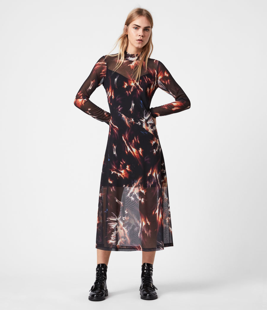 Womens Hanna Flames Dress (black) - Image 1